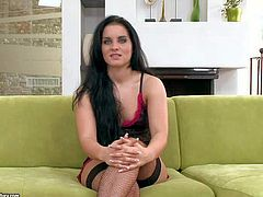 Dark haired pornstar hottie Bettina Dicapri enjoys in showing off in sexy and provocative lingerie and gets her both holes rammed at the same time for the cam