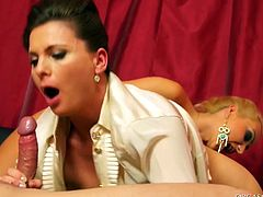 Two insatiable lesbians seduce a horny bald daddy. They tease their cunts with vibrators while a horny dude pokes them in turns in steamy threesome sex video by Tainster.