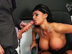 Kerry Louise with gigantic tits gets turned on then nailed by Danny Ds rock solid cock