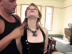 Derrick Pierce is having fun with cute slim chick Madison Young indoors. He binds and torments the sweetie and then makes her jump on his mighty schlong.