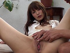 Steamy Japanese hoe rides kinky dude in reverse cowgirl style before she kneels down to give him a thorough blowjob. Later she gets pounded in doggy and missionary styles.