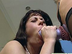 Hot babes are using huge toys to stimulate their cunts in one naughty lesbian show
