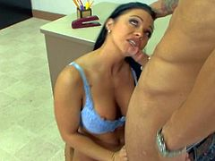Gorgeous and turned on teacher Cherokee enjoys in giving some extra classes after school to her favorite student Alan Stafford and sucks his hard rod in sixty nine on desk
