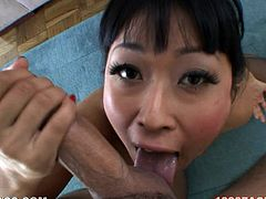 Watch this slutty Asian babe end up with her face covered by cum after sucking on this guy's big cock as soon as she makes her pussy wet while masturbating with a vibrator.