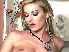 Vanessa Jordin finds herself horny as hell and takes toy in her muff