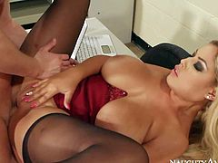 Busty and horny teacher Bridgette B with big delicious breasts and golden hair enjoys in getting rammed hard by her best student Seth Gamble on the desk in classroom