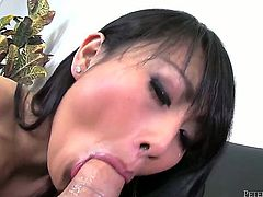 Oriental Evelyn Lin gives unthinkable oral pleasure to horny dude Will Powers by blowing his ram rod