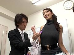 The group was so sexcited, when Reiko Kobayaka was given the floor to speak on some subject. Eventually, honey gets surrounded by some office cocks!