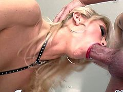 Monique Alexander is a skinny inked up blonde with rich make-up. Lovely babe with perfect tits shows her bush and gets her mouth filled with sturdy cock. Watch kinky blonde babe suck meaty cock with wild desire.
