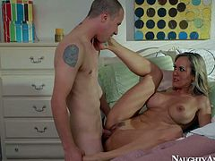 Cougar Brandi Love wakes her sons buddy up in the morning with great blowjob. She sucks his hard young dick and then gets nude. Busty milf with sexy ass gets her snatch fucked good by horny boy.