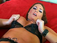 Flower Tucci gives Charles Deras hard love wand a try