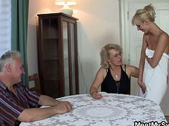 She gets lured into threesome by her boyfriend's parents. They have a nasty fun and the old man is fucking her super tight pussy!