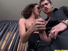 Superb brown-haired babe in pantyhose gets her pussy licked. Then she blows big dick passionately and gets her soaking pussy fucked.
