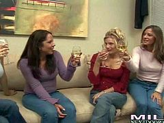 Kristen Cameron, Bella, Brianna Rray and Nicky are four milfs that are curious about lesbian sex. Two ladies go topless in front of their friends and then get their tits sucked.