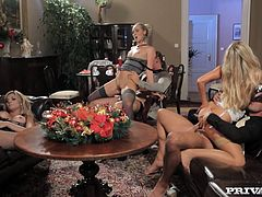Barra Brass, Jenny Simons and Klarisa Leone are having fun with their BFs. The sluts suck the men's pricks and then jump on them crazily and moan with pleasure.