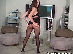 Sexy beauty likes showing off her shaved twat through her sexy pantyhose