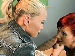 Blonde Patricia Gold satisfies her sexual desires with Kathia Nobilis fingers in her love tunnel