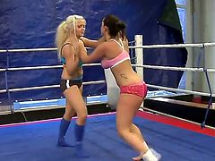 Two amazing and so sweet-looking hotties Jenna Lovely and Liza del Sierra are wrestling on a boxing ring. Watch what these girls are doing and you would get hard fast.