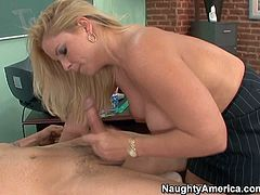 Nasty student Anthony Rosano gets to speak with his busty blonde teacher and enjoys in seducing her after school in the classroom on the desk for a hot and arousing sex