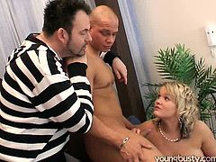 Plump busty and booty blondie gets a presented from her horny husband. Which one? A bald headed stud, who's here to polish her wet pussy doggy tough. Weird and happy bitch with huge boobs goes nuts while sucking his stiff dick for sperm. You surely need to see this incredibly hot Young Busty sex clip.