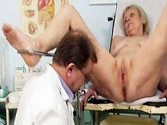 Aged old Brigita having gash exam from experienced gyno doctor