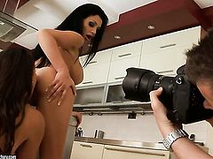 Brunette Zafira with massive melons groans in lesbian sexual ecstasy with Aletta Ocean