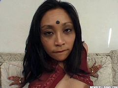 She is gorgeous and extrmely slutty. Exotic brunette hottie from India bangs teo men on the couch. They enjoy how she rides their dicks and polishes them with her mouth!