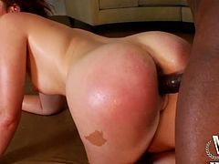 Welcome to enjoy incredibly hot pale blowlerina with red hair. Kinky nympho with nice rounded ass desires to plug a strong black dick into her mouth to fill it with sperm. Bitchie harlot is mad about getting her wet pussy poked from behind and smacks her big ass passionately up till it gets red.