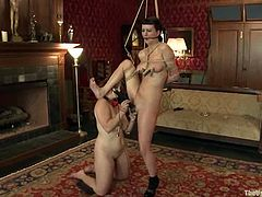 The last time Cherry dominated over Bella Rossi and now it's tome for Cherry to be abused. Bella suspends her in some tight bondage and plays with her cave!