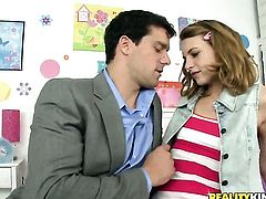Blonde Kasey Chase cant resist the desire to take Ramon Nomars sturdy boner deep in her mouth