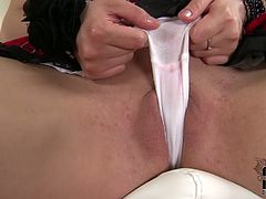 When this curly chick is alone at home she goes wild and nuts. Slutty chick in short skirt, high black boots and tight blouse licks and sucks a dildo like a real dick. Buxom nympho with nice ass stretches legs wide and rubs her pussy passionately for orgasm right on the floor. Just check her out in DDF Network sex clip to jerk off and jizz at once.