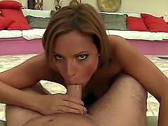 Provocative short haired brunette Szilvia Lauren with juicy ass and pretty smile gets on knees and gives lusty blowjob session to David Perry in point of view by her pool.