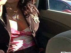 Hot and pretty delicious milf with tanned skin gets seduced in a store and enjoys in showing her boobs and her ass in front of the cam in her apartment