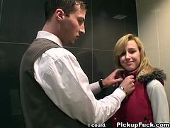 She is random chick that guy picked up in a mall. They offered her some cash for blowjob. So she pleases their dicks in public toilet in the mall.