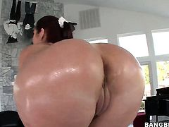 With big ass and smooth twat gets booty boned literally to death