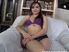 Sasha Grey shows off her amazing deep throating blowjob skills. She is gagging and choking on this big cock.