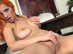 With massive melons and bald pussy gives pleasure to herself with the help of vibrator