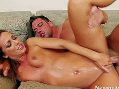 Blonde and tanned handsome babe Jada Stevens enjoys in getting her shaved and tight slit rammed hard by Johnny Castle in a rough and hot couch sex in living room