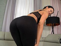Hot Jasmine Jae loves shaking her boobs and stroking her tight vag in superb solo action