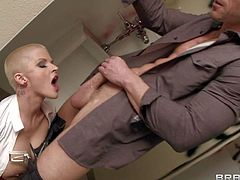 Joslyn James enjoys in getting her hands on a pretty arousing pornstar hunk Johnny Sins and his big hard bazooka and sucks it on her knees with lots of passion