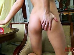 Brunette exotic porn diva with tiny boobs and bald bush getting frisky for cam