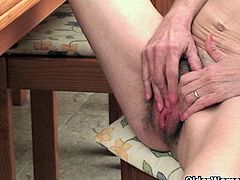 Watch how this old but yet horny granny Vikki spreads her legs and fingers her hairy pussy by sitting on the chair.You will love this hot granny for showing you her saggy tits and hairy pussy