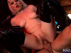 Dirty slut Alexandra Cat enjoys to have her tight butthole stretched wide. She spreads legs and rides his stiff cock like crazy!