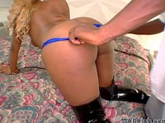 All this curvy blond ebony whore needs is to fill her mouth full with gooey sperm. Zealous chick with nice butts bends over the bed after giving a solid blowjob and begs to polish her wet cunt doggy rough for multiple orgasm.