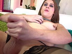 Jade Downing is a petite transsexual girl with small tits. Dicky chick in black nylon stockings and thong panties gets her sausage eaten by hot blooded guy. He gives head to shemale on his knee.