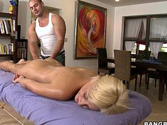 Lexi has really got an attractive body and it is enjoying a nice massage from this horny guy. He rubs her small pair of boobs and next he rubs her tight, shaved and juicy cunt and then he is slowly pushing her fingers in that. This makes her crazy and she madly starts sucking that huge man meat.
