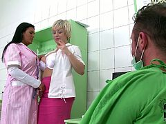 This voracious bitches are dirty sluts. They go naughty and kinky in DDF Network porn video. Blond one flashes her boobs seducing others for sex. Then, two voluptuous women squat down sucking hard dick of surgeon.