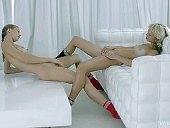 Maria Pie and Nomi attractive lesbian teen girls with firm sexy tits. They fondle each other and then take off their skin tight cotton panties. Then chicks rub their snatches in front of each other.
