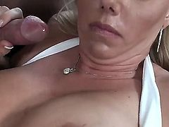 Blonde chick blows the jizz out of tool