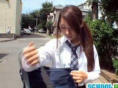 Watch a naughty Japanese brunette schoolgirl blowing her man's dong before her tight clam is drilled balls deep into kingdom come. Then things get much more interesting as he adds a toy to the party!